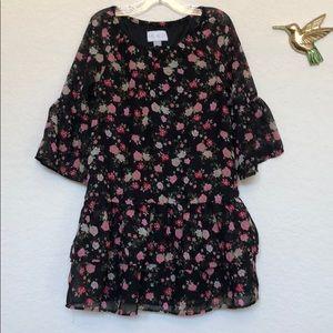 Children's Place girls black flowers dress S(5-6)